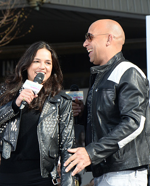 "NEW YORK, NY - APRIL 11:  Michelle Rodriguez and Vin Diesel visit Washington Heights on behalf of ""The Fate Of The Furious"" on April 11, 2017 in New York City.  (Photo by Kevin Mazur/Getty Images for Universal Pictures)"
