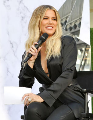 LOS ANGELES, CA - OCTOBER 07:  Co-founders of Good American Khloe Kardashian (L) and Emma Grede speak onstage during Good American Anniversary Celebration With Khloe Kardashian & Emma Grede at Nordstrom Century City on October 7, 2017 in Los Angeles, California.  (Photo by Donato Sardella/Getty Images for Nordstrom)