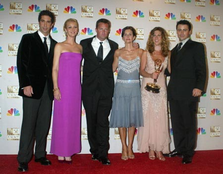 "Cast members of ""Friends"" winner for Best Comedy Series at the 54th Annual Emmy Awards. L-R: David Schwimmer, Lisa Kudrow, Matthew Perry, Courteney Cox Arquette, Jennifer Aniston and Matt LeBlanc. (Photo by Jeffrey Mayer/WireImage)"